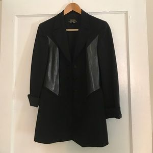 Escada Black Patent Leather Paneled Blazer, 34