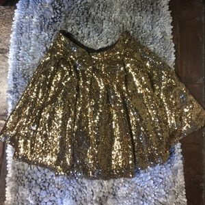 Gold Sequin Skirt Small