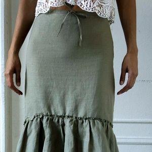 ZARA LINEN Green Olive  Skirt