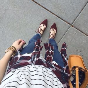 Halogen Burgundy Velvet Lace Up Pointed Flats