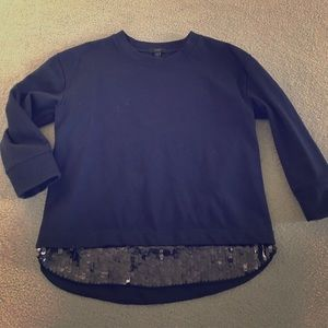 J.Crew 3/4 sleeve sweatshirt with sequin hem