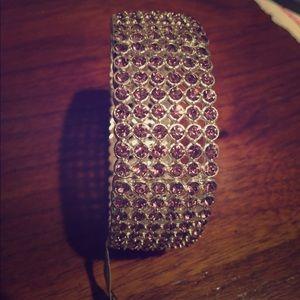 Purple rhinestone stretch bracelet new with tags