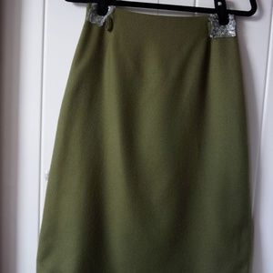 ZARA WOOL Green Olive  Skirt