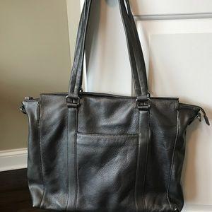 Wilson leather grey metallic tote bag
