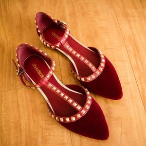 Shoedazzle Deep Red Studded Flats