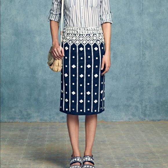 0280d812de Tory Burch Skirts | Runway Silk Beaded Skirt | Poshmark