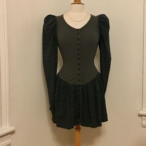 Vintage BETSEY JOHNSON puffy sleeve fitted dress