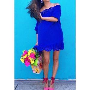 NEW Blue Off Shoulder Scalloped Eyelet Dress