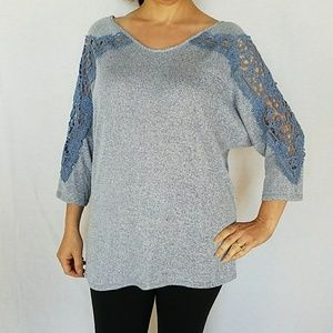NWT Crochet detail 3/4 sleeve top