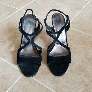 Bebe Black Suede Leather sling-back peep toe heels