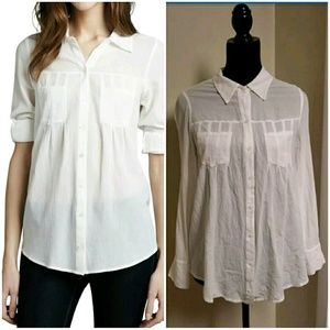 Joie White Pinot Button Front Roll Tab Sleeve Top