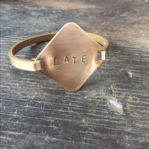 Cheeky brass vintage ID bracelet
