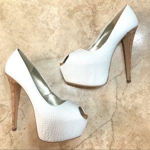 Bebe White snakeskin and Cork Heels