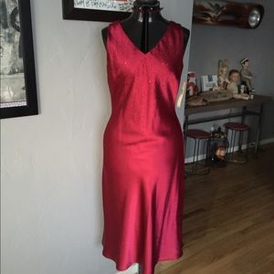Red satin gown with red crystals