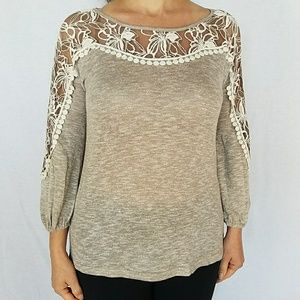 NWT A'REVE ANTHROPOLOGIE Lace insert knit top