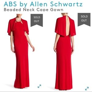 ABS by Allen Schwartz Beaded Neck Cape Gown