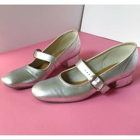 Vintage Shoes - Silver Vintage Mary Jane Flats