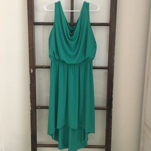 Green high/low dress