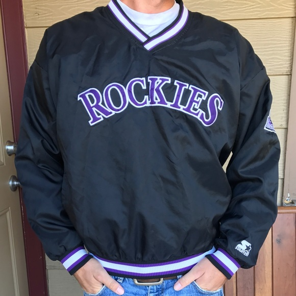 pretty nice 725c1 a70aa Colorado Rockies ThrowBack Starter Pullover Jacket