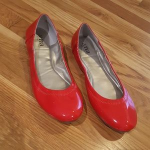 a.n.a. Red Patent Leather Flats, sz 9.5