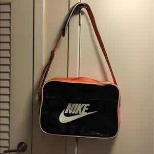 Nike patent black orange gym duffle bag