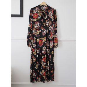 Zara Black Floral Long-sleeve Maxi Dress
