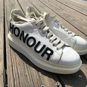 "Alexander McQueen platform 'honour/truth"" white"