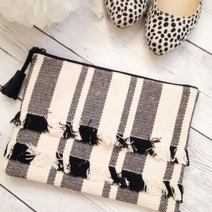 Women's Black And White Striped Clutch