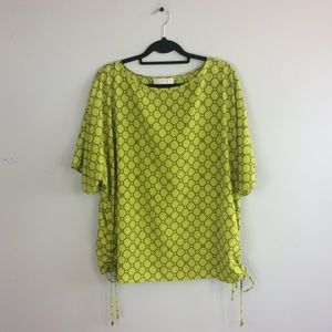 Michael Kors Plus Size Printed Ruched Tee Top