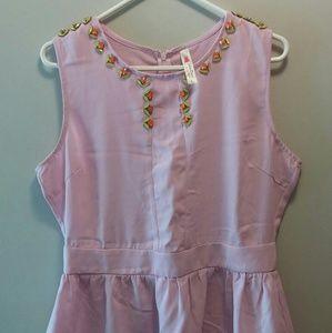 Modcloth Jeweled Collar Pink Top