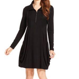 Kensie French Terry Long-Sleeve Drape Dress