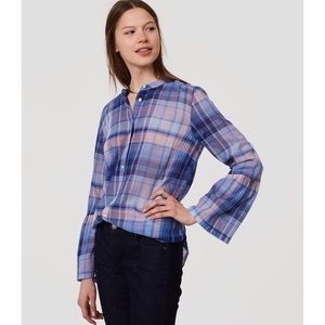 Ann Taylor LOFT Plaid Bell Sleeves Softened Shirt