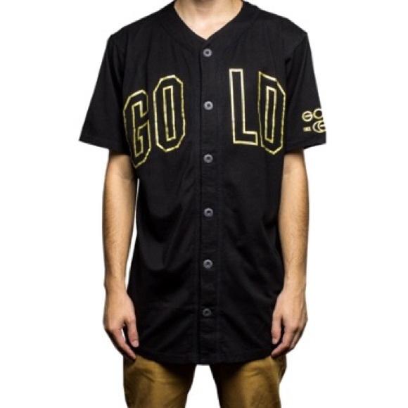24 Karat Gold Baseball Jersey Black