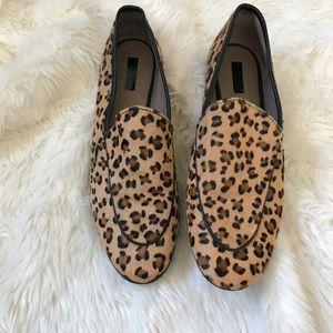 Topshop cheetah print calf hair loafers sz 9.5