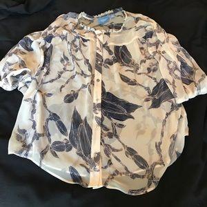 Vera Wang: NWOT sheer button down blouse