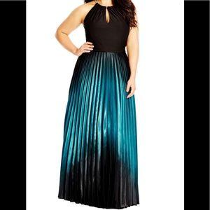 City chick long maxi dress aqua blue and black