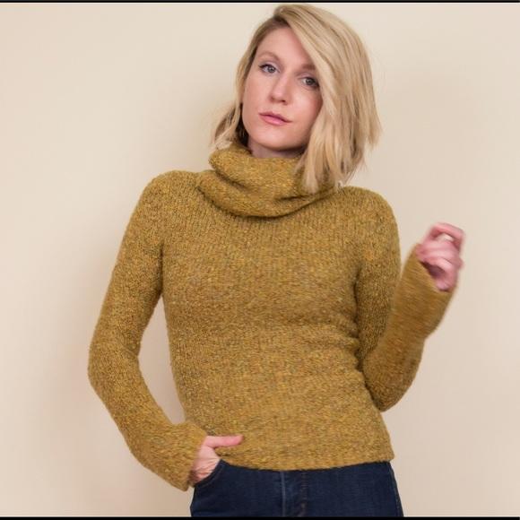 Vintage Sweaters 80s Mustard Yellow Turtleneck Sweater Poshmark