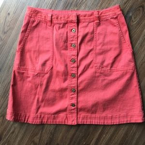 Anthropologie Coral Button Skirt