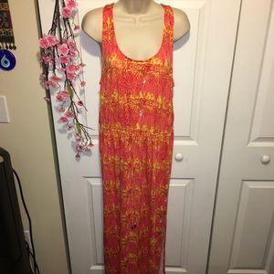 Never worn! Size 12-14 Batik Tie Dye Orange Maxi