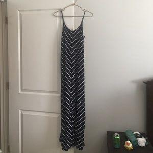 YA navy and white striped maxi dress