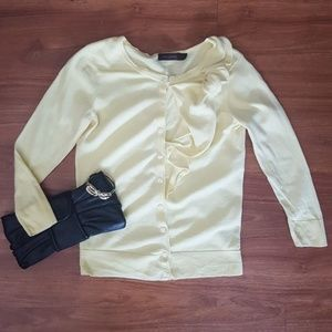 The Limited yellow bow cardigan