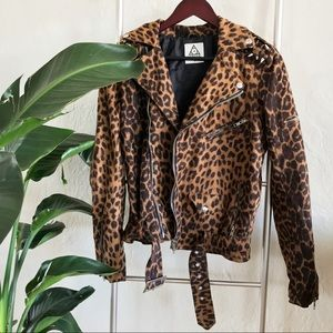 UNIF Suede Cheetah Suede Studded Moro Jacket