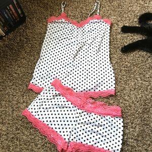 NWOT Pink Lace Polka Dot Pajama Set