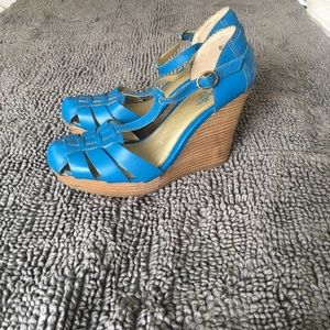Seychelles leather t-strap wedges, 8 1/2