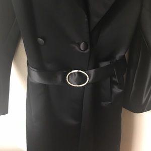 NWOT INC black satin coat new sz M
