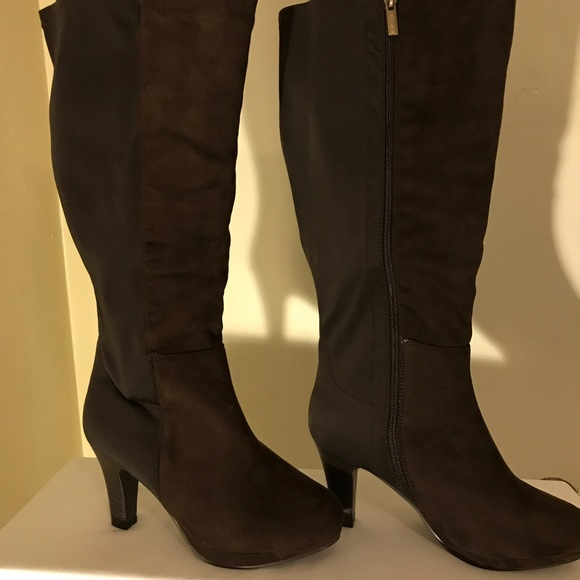 59a633a620b Brown wide calf Lane Bryant knee boots