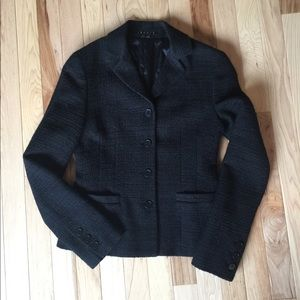 Theory suit jacket in black basketweave. Size 00.