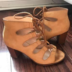 Lulu's City Lights Tan Lace-Up Heels