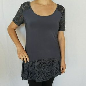 NEW Short Sleeve Top With Lace Contrast