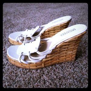 Michael Kors Wedge Sandals White woven